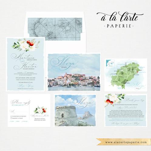 Ibiza Spain Balearic Island Illustrated Destination wedding ... on