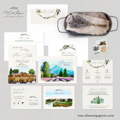 Sunriver Oregon Wedding Invitation Set with watercolor illustrations