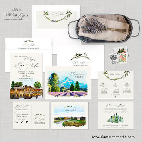 Sunriver Oregon OR watercolor illustrated rustic Destination wedding invitation