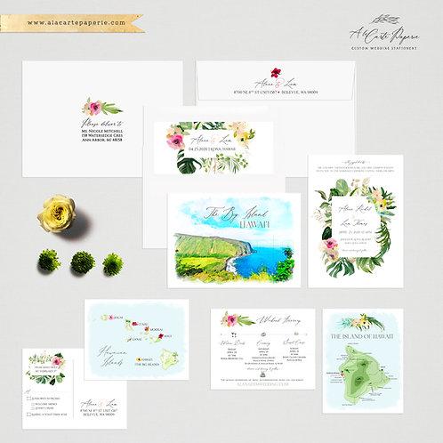 Hawaii The Big Island Watercolor Illustrated Destination wedding invitation set