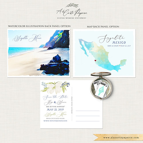 Mexico Destination wedding Sayulita beach watercolor illustrated wedding invitat