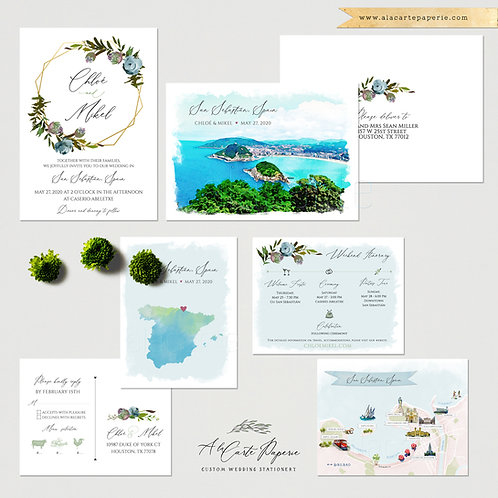 San Sebastian Spain Destination Wedding Invitation Basque Country Illustrated