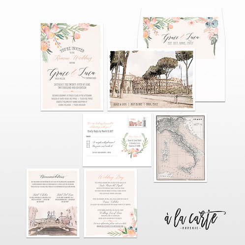 Rome Destination wedding Italy Wedding Invitation Suite Rome Roma Italian Coloss