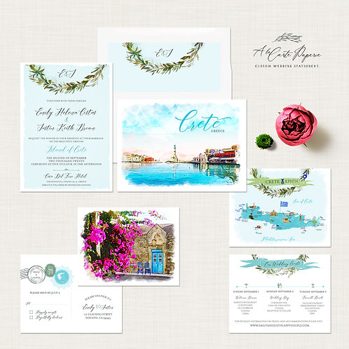 Destination Wedding Invitation Crete Greece Greek Island Invitation Suite
