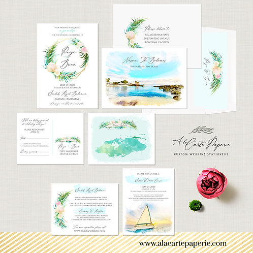 Nassau Bahamas Destination wedding invitation Beach watercolor illustrated set