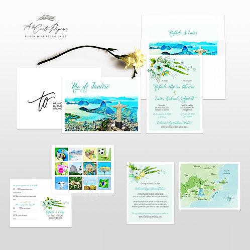 Rio de Janeiro Brazil Watercolor Illustrated Destination Wedding Invitation Set