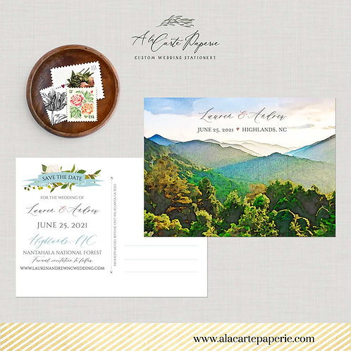 Blue Ridge Mountains NC Watercolor illustrated Save the Date Destination wedding
