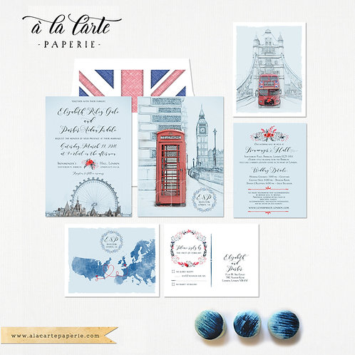 British United Kingdom London Tower Bus UK Destination wedding Invitation Suite