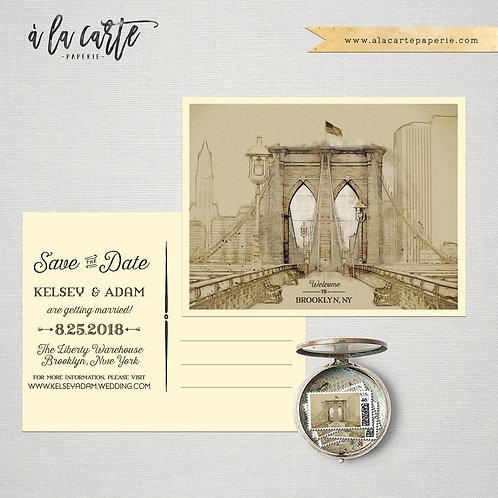 Brooklyn New York USA  Save the Date Illustrated wedding invitation card