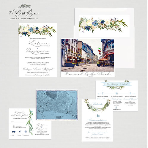 Montreal Canada Destination Wedding Invitation with watercolors