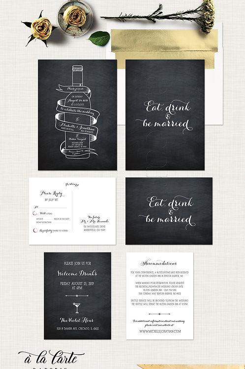 Wine Bottle Chalkboard Inspired Wedding Invitation Card Winery Wedding