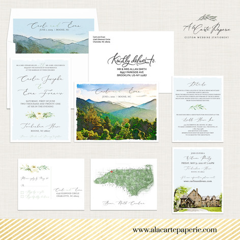 North Carolina Blue Ridge Mountains Boone Wedding Invitation Set with watercolor illustrations