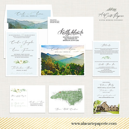 North Carolina Blue Ridge Mountains Rustic Woods Destination wedding invitation