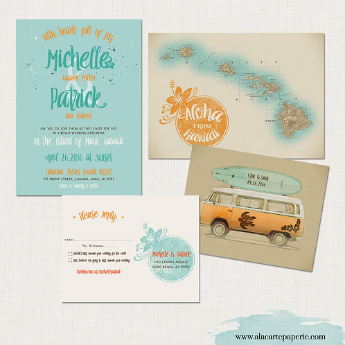 Maui Hawaii Illustrated Destination Wedding Invitation Retro Bus beach surfboard