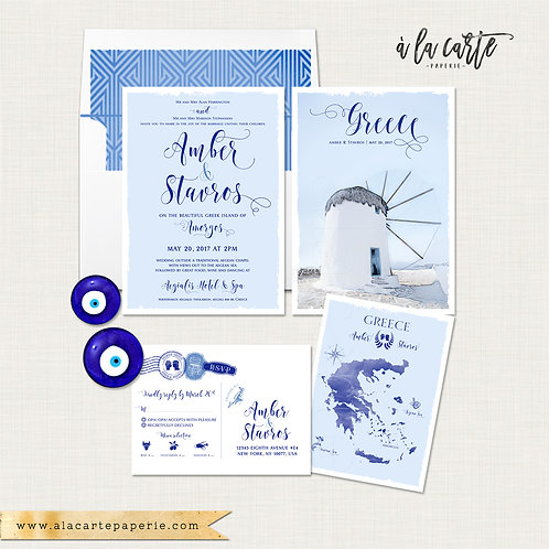Greece Mediterranean Greek island Wedding Invitation in blue Amorgos