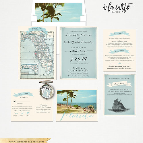 Florida Wedding Invitation and RSVP card Design fee Destination wedding invitati