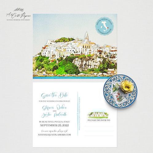 Puglia Apulia South Italy Save the Date Watercolor Illustrated wedding invite