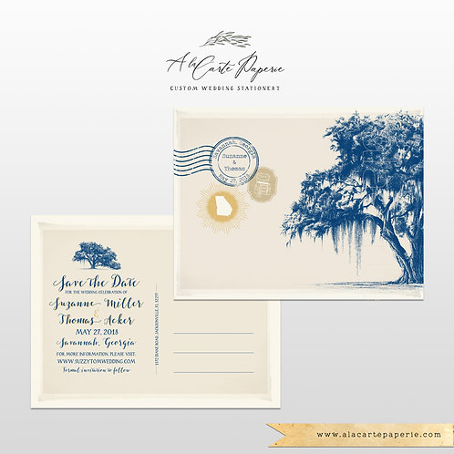 Destination wedding Georgia Florida Oak Tree Spanish Moss save the date card