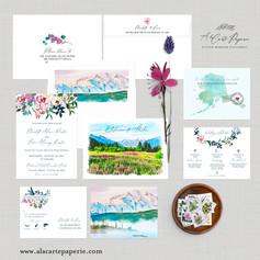 Juneau Alaska USA Watercolor Illustrated Destination wedding invitation