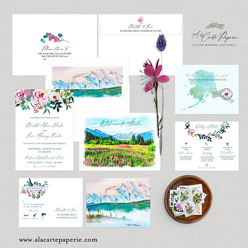 Juneau Alaska USA Watercolor Illustrated Destination wedding invitation
