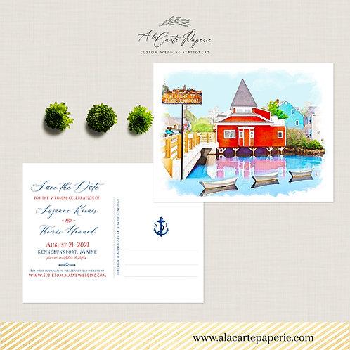Kennebunkport Maine Destination Wedding Save the Date coastal wedding invitation