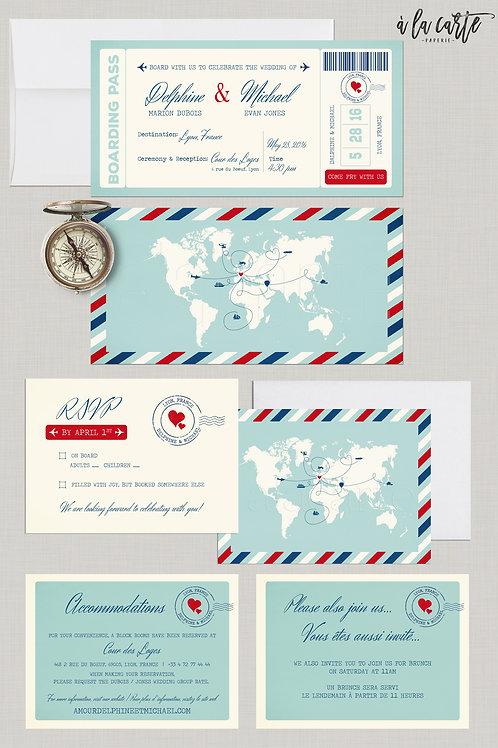 Destination Wedding Boarding Pass Invitation World mapinternational wedding