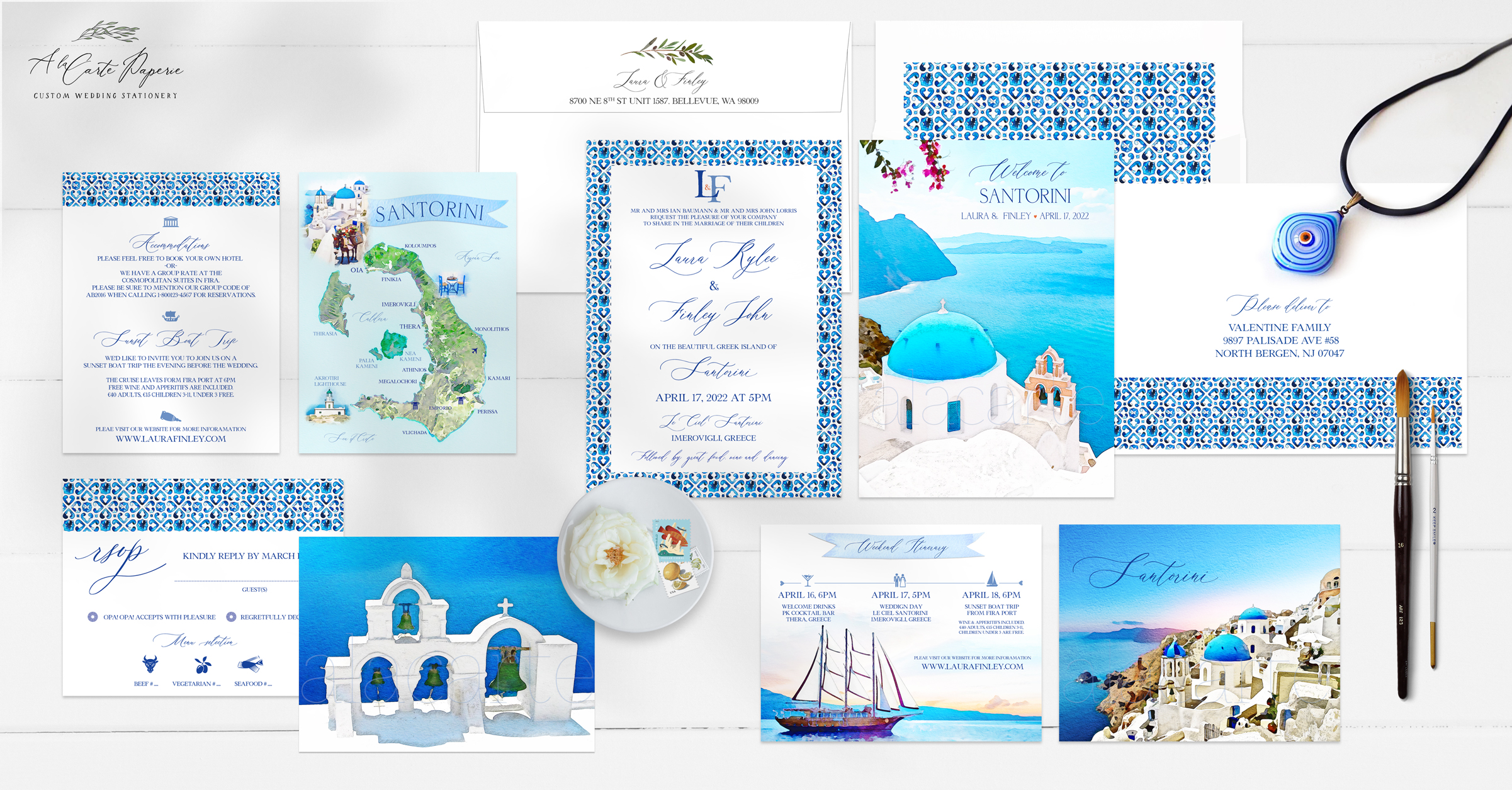 Santorini Greece watercolor illustrated destination wedding invitation set