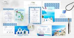 Santorini Greece watercolor illustrated destination wedding invitation set