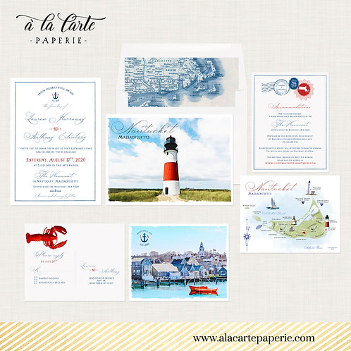 Nantucket Massachusetts Destination watercolor illustrated wedding invitation