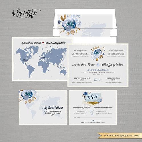 Floral bilingual destination wedding invitation Two Countries One Love