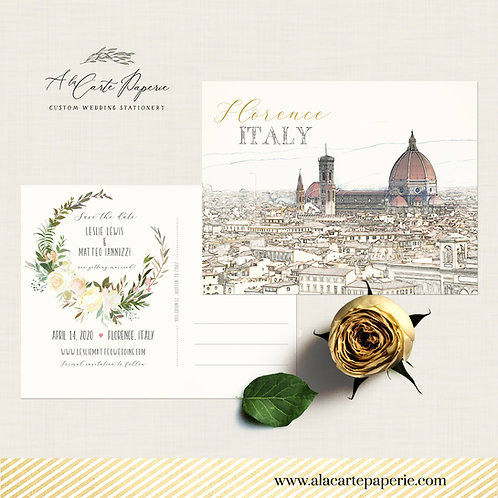 Florence Tuscany Italy Save the Date postcard illustrated Tuscan wedding invite