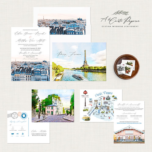 Paris France Parisian Watercolor Illustrated Destination Wedding Invitation Set