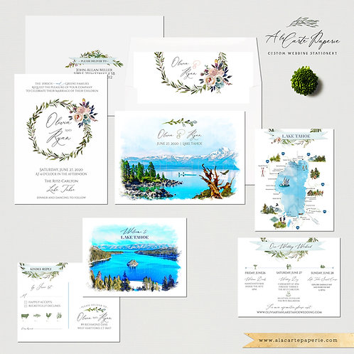 Lake Tahoe California Nevada USA watercolor illustrated wedding invitation
