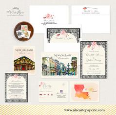 New Orleans LA Wedding Invitation Set