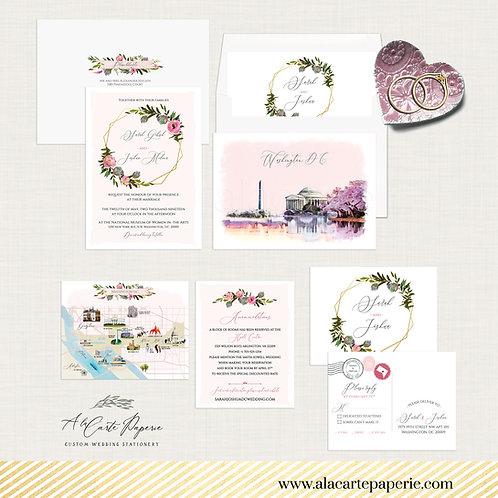 Washington DC USA watercolor illustrated wedding invitation set in blush pink