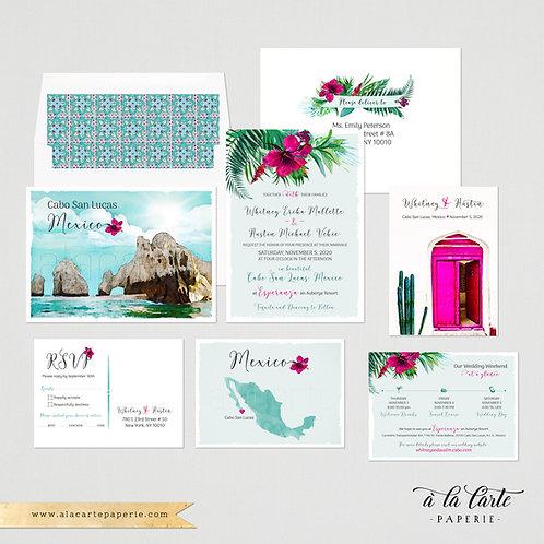 Mexico Cabo San Lucas Los Cabos beach destination wedding invitation watercolor