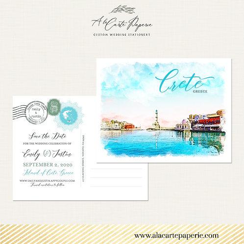 Crete Greece Greek Island Save the Date Postcard Destination Wedding