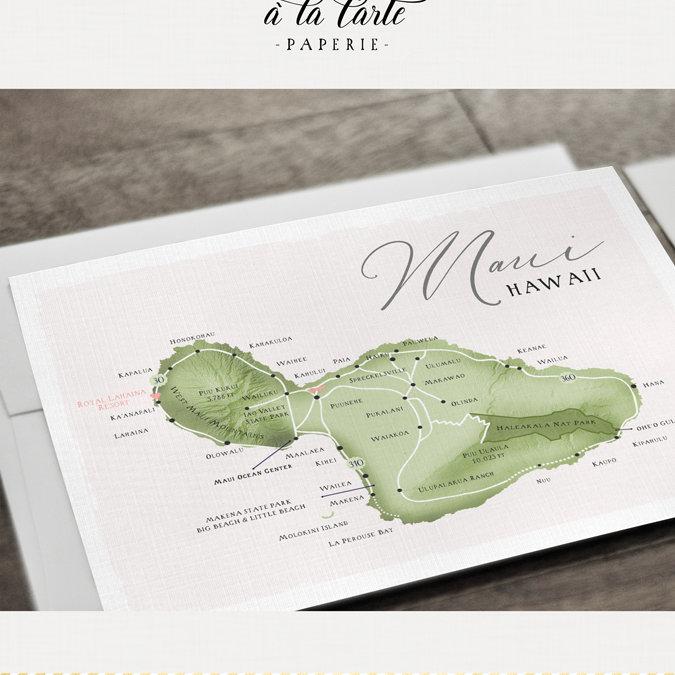 Wedding Invitations Hawaii: Hawaii Maui Wedding Invitation Set Watercolor Illustration Map