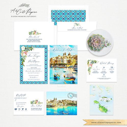 Malta Mediterranean invitation set Balluta Bay Valletta - Europeen  Destination