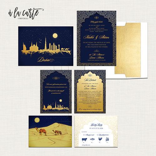 Dubai United Arab Emirates Arabian Nights Navy Blue Gold illustrated wedding inv