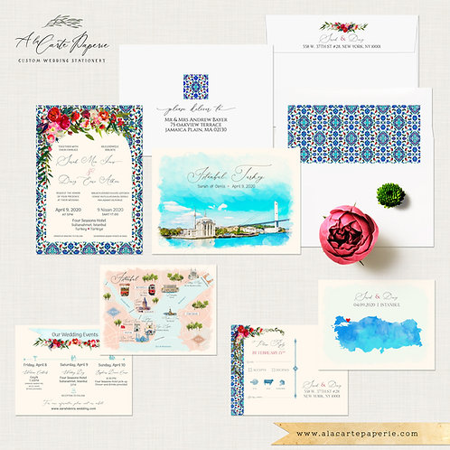 Istanbul Turkey Turkish Destination Wedding Invitation with watercolors