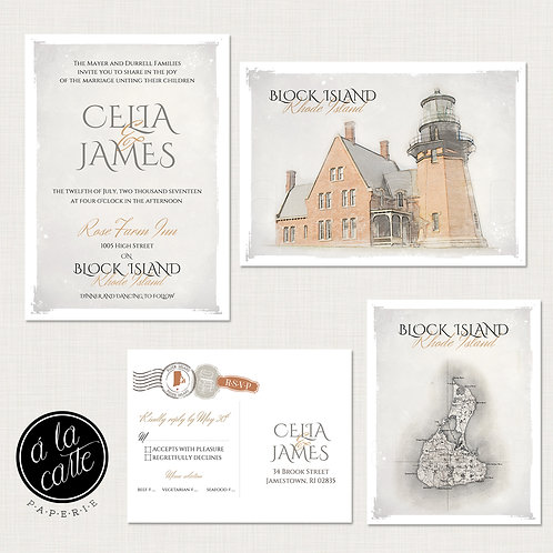 Block Island Rhode Island Atlantic Ocean Destination Wedding Invitation Suite