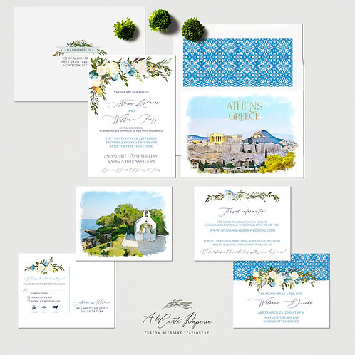 Athens Greece Mediteranean Destination Wedding Invitation Greek Invitation