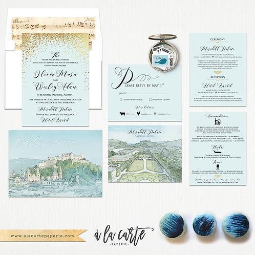 Salzburg Austria Illustrated Destination wedding invitation European wedding