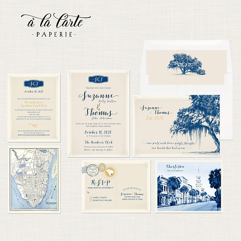 Charleston SC Vintage Oak Tree Spanish Moss illustrated wedding invitation set