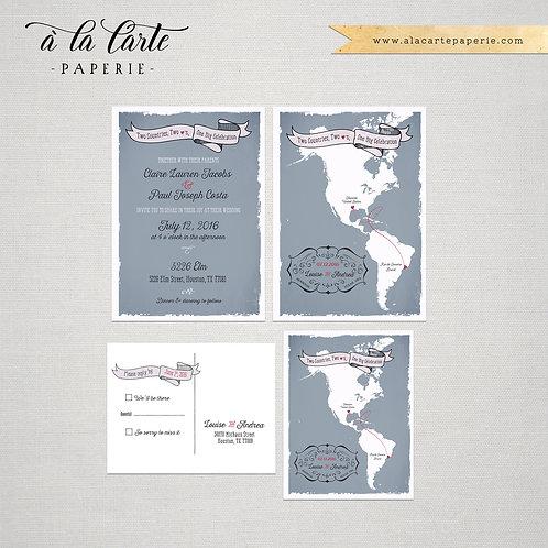 The Americas Destination bilingual wedding invitation South America North Americ