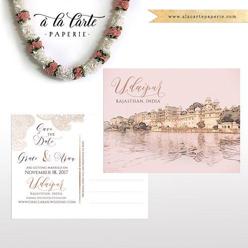 Udaipur Rajasthan India Illustrated Save the date postcard invitation destinatio