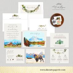 Jackson Hole Wyoming Mountains Wedding Invitation Set with watercolor illustrations