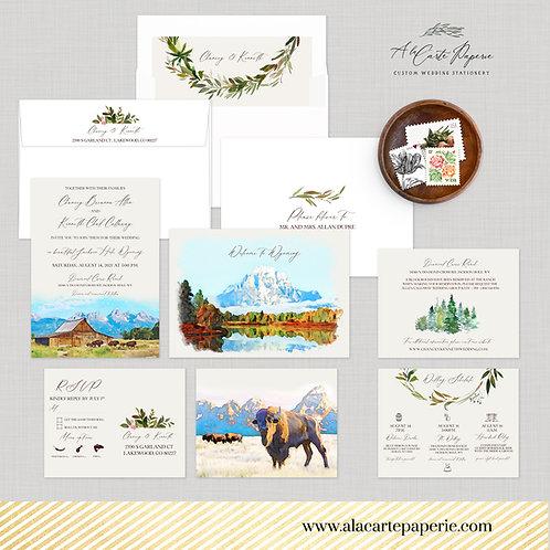 Wyoming Jackson Hole Rustic Watercolor Illustrated Wedding Invitation Set
