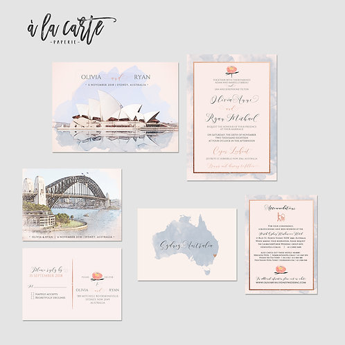 Sydney Australia Illustrated Destination wedding invitation watercolour Opera